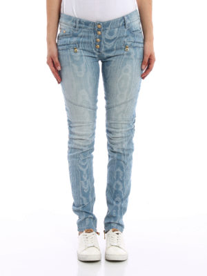 Balmain: skinny jeans online - Jacquard denim jeans