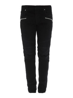 Balmain: skinny jeans - Skinny jeans with ribbed inserts