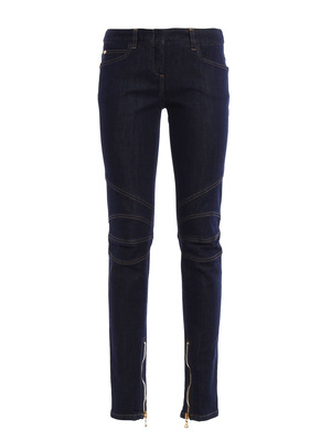 Balmain: straight leg jeans - Biker-inspired cotton jeans