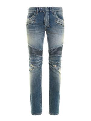 Balmain: straight leg jeans - Biker-style ripped jeans
