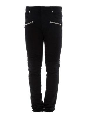 Balmain: straight leg jeans - Black denim biker jeans