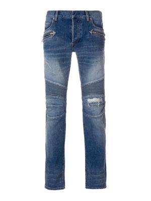 Balmain: straight leg jeans - Bleached denim biker jeans