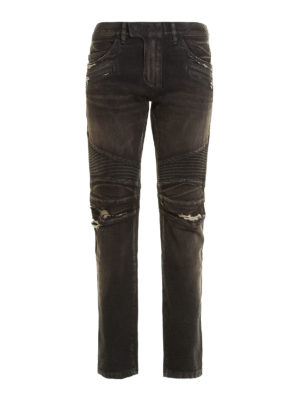 Balmain: straight leg jeans - Distressed denim biker jeans