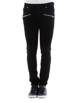 Balmain: straight leg jeans online - Black denim biker jeans
