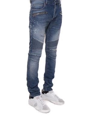 Balmain: straight leg jeans online - Bleached denim biker jeans