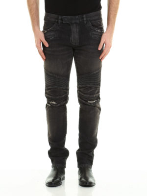 Balmain: straight leg jeans online - Distressed denim biker jeans