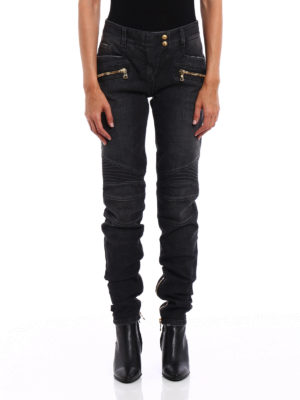 Balmain: straight leg jeans online - Faded denim biker jeans
