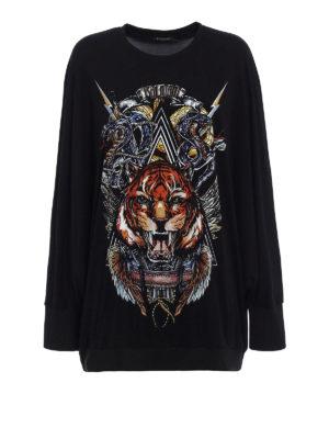 Balmain: Sweatshirts & Sweaters - Crepe cady oversize sweatshirt