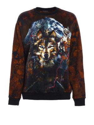 Balmain: Sweatshirts & Sweaters - Satin panelled printed sweatshirt