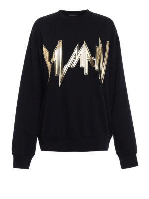 Balmain: Sweatshirts & Sweaters - Silkscreen logo print sweatshirt