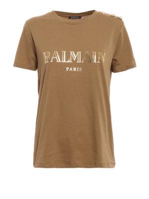 Balmain: t-shirts - Button and logo print T-shirt