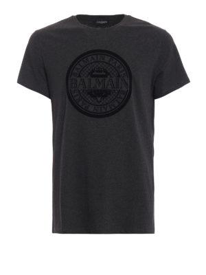 48d80a50 Balmain: t-shirt - T-shirt in jersey con logo Balmain Paris