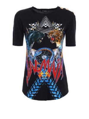 Balmain: t-shirts - Jungle print cotton T-shirt