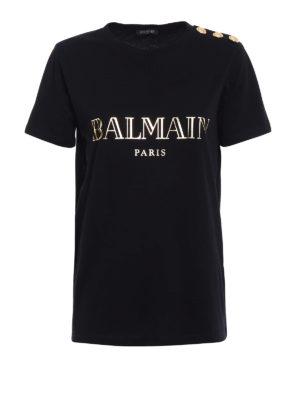 Balmain: t-shirts - Logo print and buttons black Tee