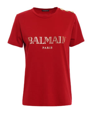 Balmain: t-shirts - Logo print and buttons red Tee
