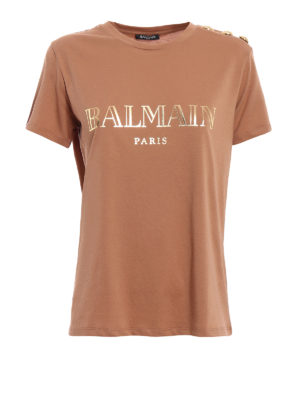 Balmain: t-shirts - Logo print and buttons T-shirt