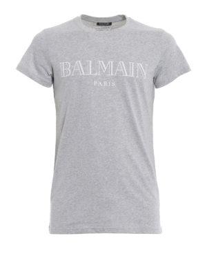 Balmain: t-shirts - Logo print grey T-shirt