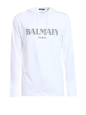Balmain: t-shirts - Long sleeved hooded T-shirt
