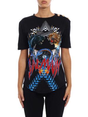 Balmain: t-shirts online - Jungle print cotton T-shirt