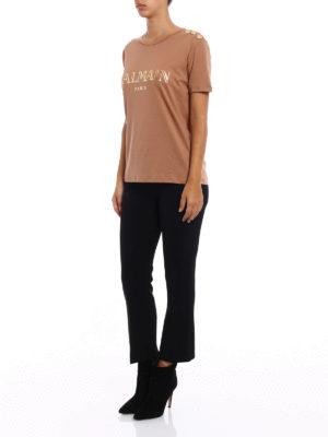Balmain: t-shirts online - Logo print and buttons T-shirt
