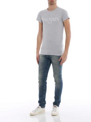 Balmain: t-shirts online - Logo print grey T-shirt