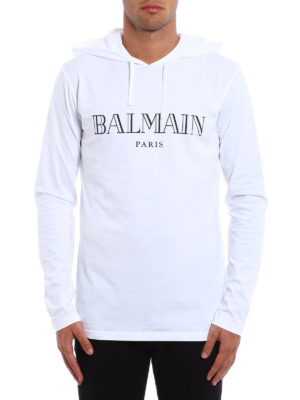Balmain: t-shirts online - Long sleeved hooded T-shirt