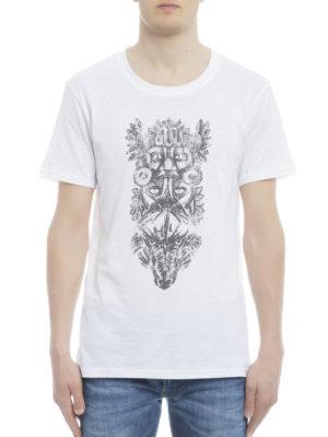 Balmain: t-shirts online - Totem print cotton Tee
