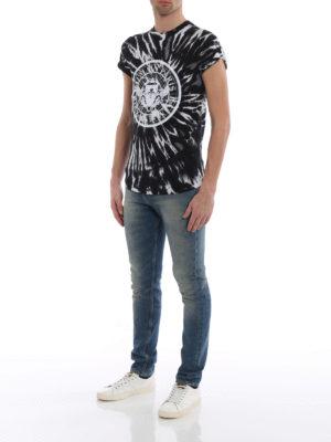 Balmain: t-shirts online - Velvety logo printed T-shirt