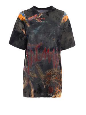 Balmain: t-shirts - Used effect oversize cotton-shirt