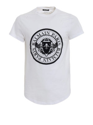 Balmain: t-shirts - Velvety logo drilled white T-shirt