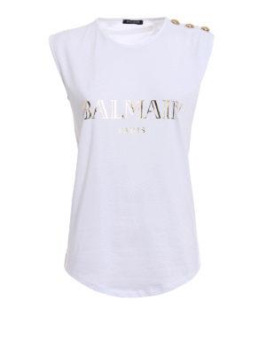 Balmain: Tops & Tank tops - Logo and buttons white tank top
