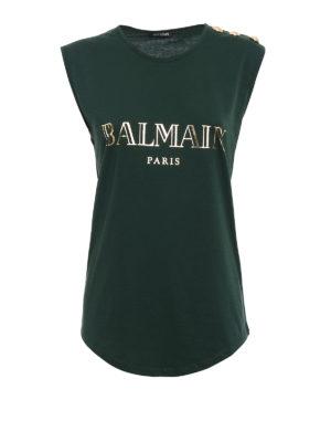 Balmain: Tops & Tank tops - Logo print and buttons tank top