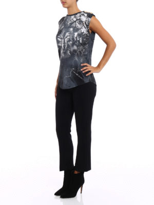 Balmain: Tops & Tank tops online - Drilled wolf print grey tank top