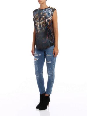 Balmain: Tops & Tank tops online - Drilled wolf print tank top