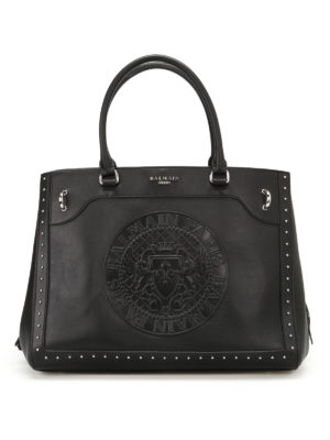 Balmain: totes bags - Leather maxi logo black tote
