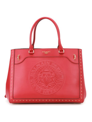 Balmain: totes bags - Leather maxi logo red tote