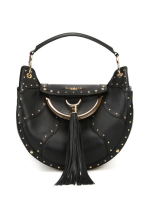 Balmain: totes bags - Leather tote with coin purse