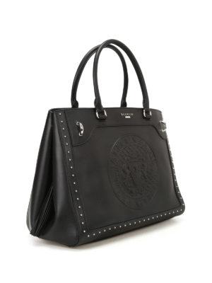 Balmain: totes bags online - Leather maxi logo black tote