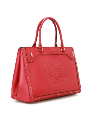 Balmain: totes bags online - Leather maxi logo red tote