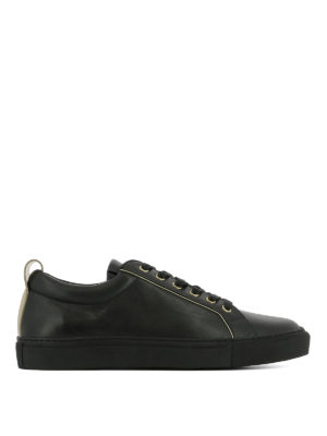 Balmain: trainers - Gold-tone detailed leather sneakers