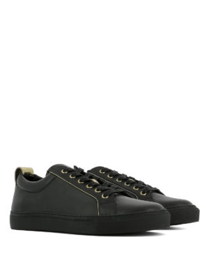 Balmain: trainers online - Gold-tone detailed leather sneakers