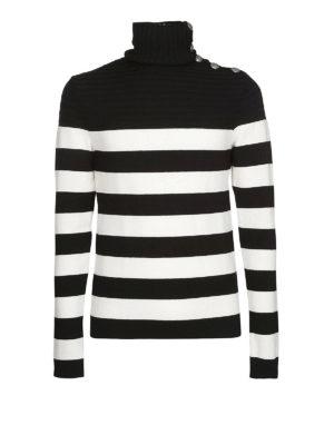 Balmain: maglia a collo alto e polo - Dolcevita in lana a righe con bottoni