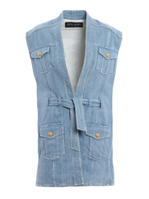 Balmain: waistcoats & gilets - Expandable sides denim waistcoat