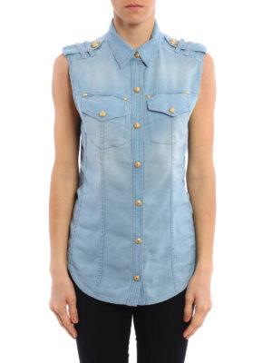 Balmain: waistcoats & gilets online - Denim-inspired lyocell waistcoat