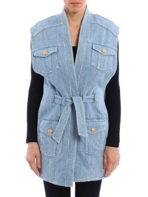 Balmain: waistcoats & gilets online - Expandable sides denim waistcoat