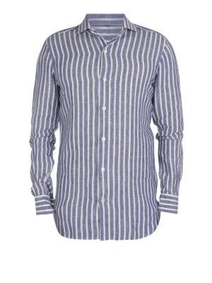 BARBA: shirts - Culto linen striped shirt
