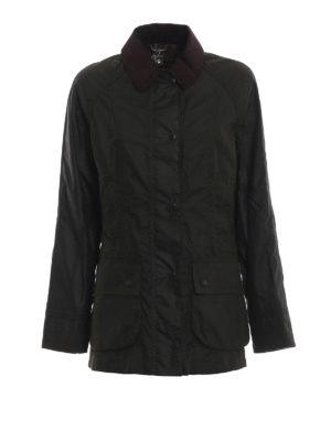 BARBOUR: giacche casual - Giaccone Beadnell Wax con colletto di velluto