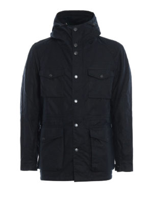 BARBOUR: giacche casual - Field jacket Coll in cotone cerato blu