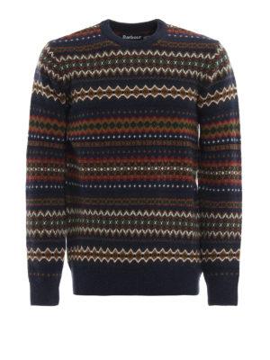 BARBOUR: maglia collo rotondo - Pull Case Fairisle in lana jacquard blu
