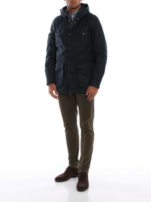 BARBOUR: giacche casual online - Field jacket Coll in cotone cerato blu